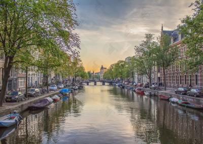 Romantic sunset in Amsterdam