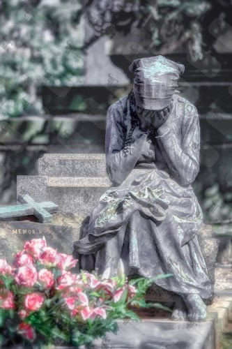 Statue of a young lady grieving on the tombstone of her beloved in the Monumental Cemetery in Milan