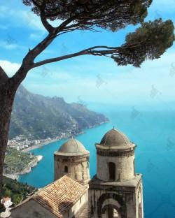 Amalfi coast and Annunziata church seen from the terrace of Villa Rufolo in Ravello