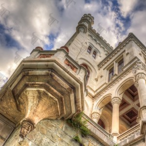Miramare, the white castle overlooking the Adriatic sea in the gulf of Trieste near the bay of Grignano