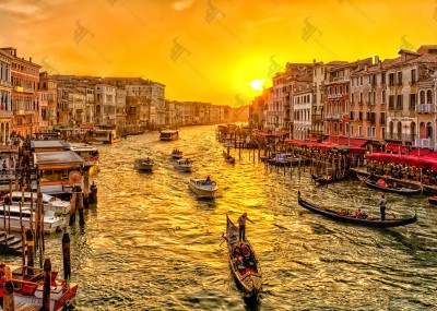 Grand Canal from Rialto bridge at sunset