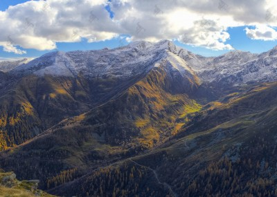 Autumn view of Valle dell'Orco from the ridge of Alpe Cialma