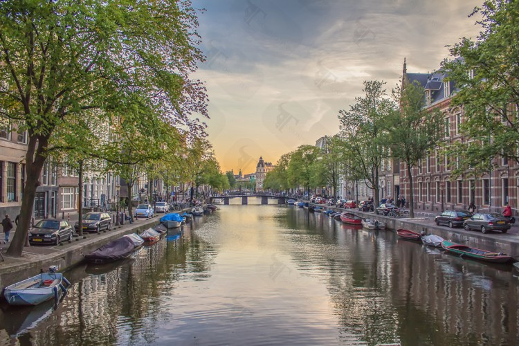 Romantic sunset in Amsterdam
