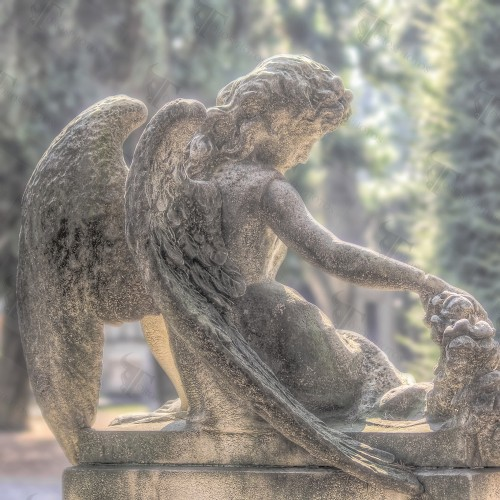 The rest of an angel in Cimitero Monumentale in Milan
