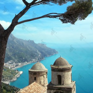 Amalfi coast and Annunziata church seen from the terrace of Villa Rufolo in Ravello