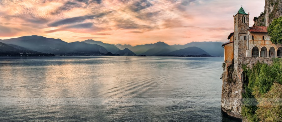 Amazing sunset ovel the Lake Maggiore from the Eremo di Santa Caterina del Sasso Ballaro in Piedmont, Italy.
