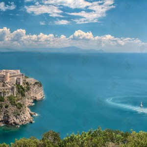 View of Medieval Gaeta and its beautiful castle, Castello Angioino, from the national park of Monte Orlando