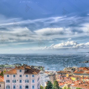 Trieste panorama from the terrace of the historic castle of St. Giusto.